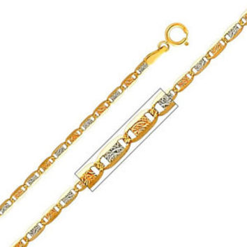 """14K Tri-Color Gold 1.5mm Valentino Diamond Cut Chain Necklace with Spring Clasp (Length: 18"""""""";  Weight: 1.4 grams approx): Necklace"""