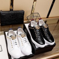 GUCCI Men Flats Leather Sneakers Sport Shoes Boots Shoes Best Quality Black
