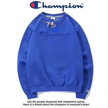 Champion Fashion New Autumn And Winter  Bust Embroidery Letter Couple Long Sleeve Sweater Top Blue