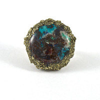 Chalcedony Ring with Pyrite Detail Sz. 7.75