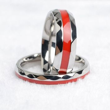 316L Stainless Steel Firefighter Thin Red Line Rings For Men & Women