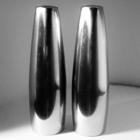 "Mid Century Danish Modern Dansk Salt  & Pepper""Odin"" Jens Quistgaard Design Stainless Steel, Original Red Stoppers"