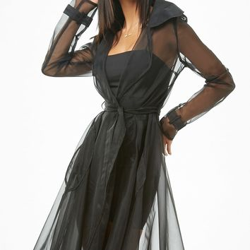 Sheer Organza Trench Coat