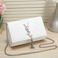 YSL New fashion leather women letter tassel leisure shoulder bag White