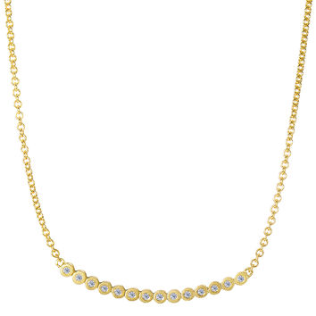 14k Yellow Gold 0.11Ct Diamond Bezel Curved Bar Necklace - 16 To 17 Inch Expandable