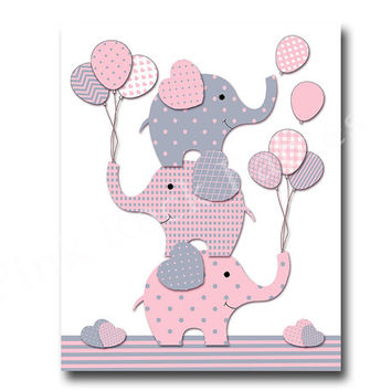 Elephant nursery decor pink grey nursery wall art for baby girl room decor play room decor nursery artwork kids room decor children room art