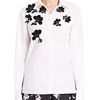 Nina Ricci - Button-Front Floral Appliqué Shirt - Saks Fifth Avenue Mobile