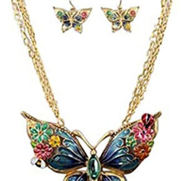 """Chunky Multi-Color Large Butterfly Pendant Layered Goldtone Necklace and Earrings, 18+3"""" Ext."""