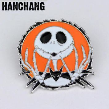 The Nightmare Before Christmas Skull Brooch High Quality Enamel Pin Badge Broche Personalized Jewelry Halloween Best Gift