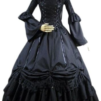 Elegant Gothic Lolita Victorian Cotton Black Long Dress