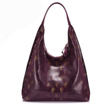 genuine leather women shoulder bag female handbag hobo large capacity serpentine prints soft fashion