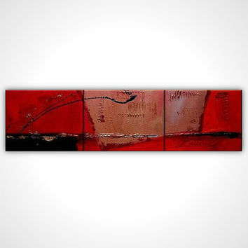 Triptych painting - Red painting - Modern art - Abstract painting - Red abstract painting - Textured painting on canvas - Modern canvas art