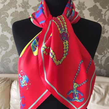NEW AUTHENTIC CHANEL X-RAY PRINTED BAGGAGE BRIGHT RED 100% SILK TWILL SCARF