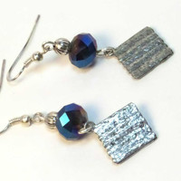 Passover Earrings - Dark Blue Matzah