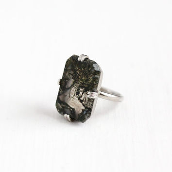 Vintage Sterling Silver Art Deco Moss Agate Ring - 1930s Size 3 3/4 Clear & Green Rectangular White Gem Statement Jewelry