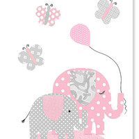 Pink and Gray Elephant Nursery Decor Butterflies Girl's Room Decor Pink White Polka Dots Art for Children Baby Girl 8 x 10 or 11 x 14