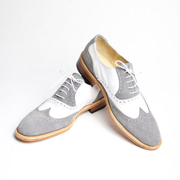 grey and white oxford brogue shoes  FREE WORLDWIDE by goodbyefolk