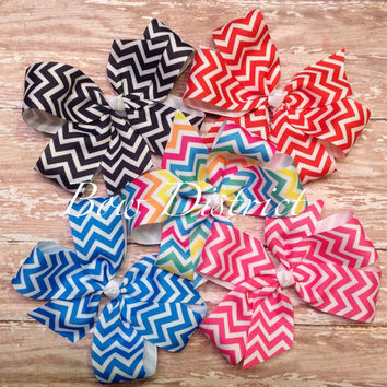 5 Chevron Pinwheel Hair Bows