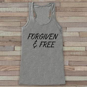 Womens Easter Shirt - Forgiven and Free - Religious Easter Tank Top - Christian Easter Womens Tank - Happy Easter Christ, Jesus, Grey Tank