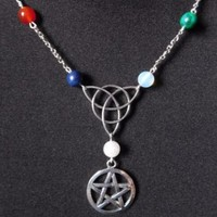 Pagan witchcraft  Pentagram Star Necklace Pendant Charms Vintage Silver Collar Statement  Choker Jewelry Women Accessories Gift