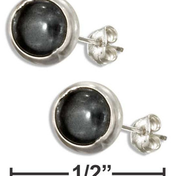 STERLING SILVER 5MM ROUND HEMATITE POST EARRINGS