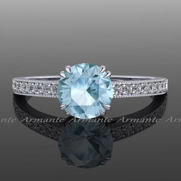 Diamond And Aquamarine Solitaire Engagement Ring