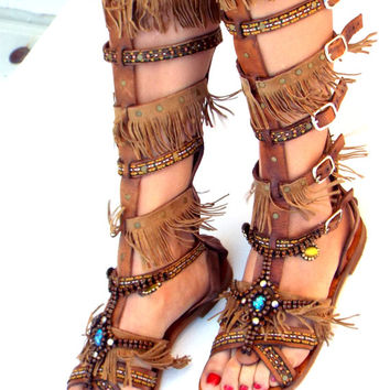Native America Tall gladiator sandals, hippie shoes, Gladiator Sandal, boho sandals, summer boots, Genuine leather shoes, festival sandal