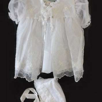 Vintage 4 Pc Baby Girl Christening Dress Set, White Baptism Outfit, Eyelet Flowers and lace, Slip, Dress, Jacket and Bonnet