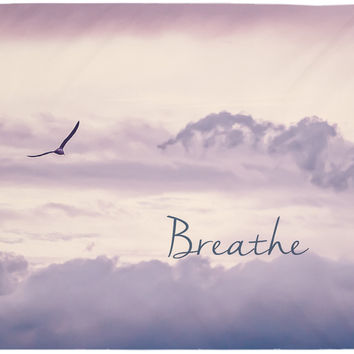 Breathe Tapestry Sky Purple Boho Wall Tapestry Hippy Yoga Meditation Mandala Wall Hanging Pink Sky