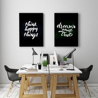 """PRINTBALE ART - Double Poster """" Think happy things"""" & Dreams come true"""""""