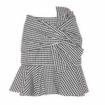 Picnic Bow plaid cotton skirt