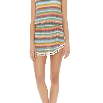 Halter Pom Pom Trim Cover-Up Mini Dress - Multi