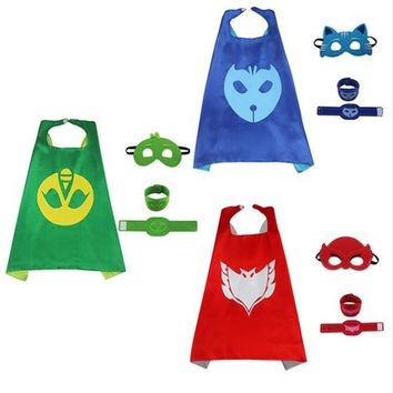 Double Sides Super Hero Cape & Mask & Wristban Kids Purim Carnival Halloween Children's Birthday Party Cosplay Costume