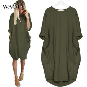 WAQIA 2018 Hot Sales Autumn Women O-neck Long Sleeve Summer Casual Dress Plus Size 2XL Vintage Loose Dress With Pockets Vestido