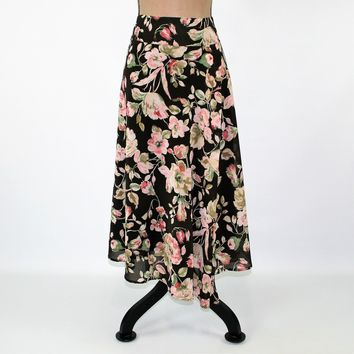 Brown Floral Skirt Women Large Boho Skirt Chiffon Midi Romantic Pink Brown Print Skirt A Line Skirt Full Skirt Size 12 Vintage Clothing