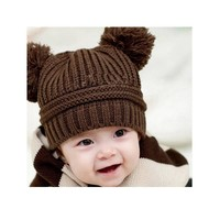 Dual Ball Knitted Baby Caps Boys Girls Toddler Crochet Beanie Hairball Ear Baby Hat Cute Children Caps Baby Hat For 3Months-2Y