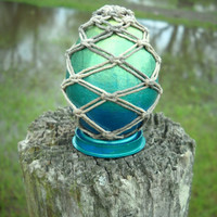 Spring SALE Dewdrop Egg - shimmering metallic egg with hemp macrame - shades of blue teal & green - includes optional stand and hanging line