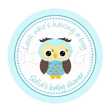 Boy Owl baby shower sticker . 2 Inch Circles. Stickers, Cupcake Topper, Tags,Digital file