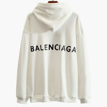 PEAPJ1A Balenciaga Stylish Print Long Sleeve Sweatshirt Hoodies Top White