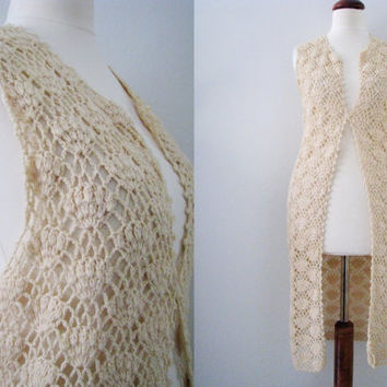 60s/70s Handmade Cream Crochet Vest, one size // Vintage Long Sleeveless Hippie Tunic Vest // Crochet Shell Layer Top