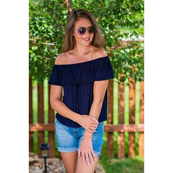 Hold You Tight OTS Top : Navy
