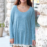 Colder Weather Chic Ribbed Lace Trim Tunic {Teal}