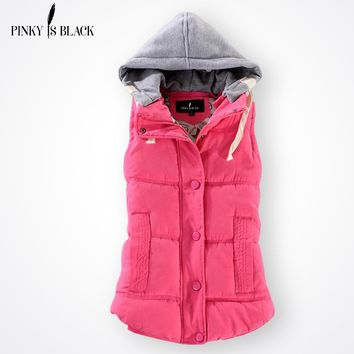 Pinky Is Black Winter Fashion Cotton Vest Women Patchwork Sleeveless Hooded Collar Casual Coat Colete Feminino Waistcoat