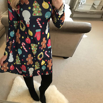 Long Sleeve Christmas Symbols Printed Dress