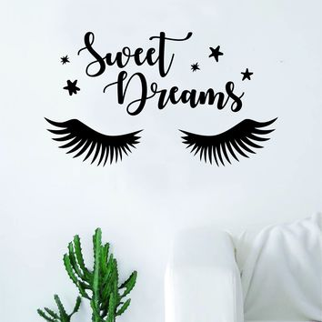 Sweet Dreams Eyelashes Beautiful Design Decal Sticker Wall Vinyl Decor Art Eyebrows Make Up Cosmetics Beauty Salon MUA lashes