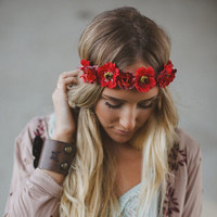 Women Lady Girl Bohemia Flower Crown Wedding Wreath Bridal Summer Style Floral Headdress Headband Hairband Hair Band Accessories