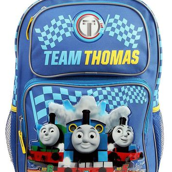 """Thomas the Train & Friends 16"""" Rolling/Roller Canvas Red & Blue School Backpack"""