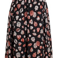 MSGM embroidered lips skirt
