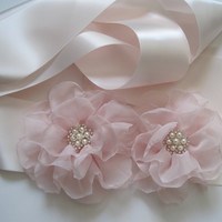 Light Blush Pink Satin Wedding Sash with Blush Pink Chiffon Flower and Pearl and Rhinestone Accents Bridal Sash Wedding Ready To Ship