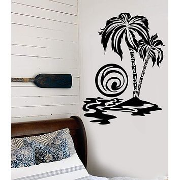 Vinyl Wall Decal Palm Tree Beach Sunset Summer Holidays Sun Sea Island Stickers Unique Gift (744ig)
